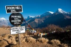 I dag skal vi tidligt op – for vi skal ud på en times trekking op til Poon Hill, som ligger i 3.210 meters højde, inden solen står op. Her får vi nemlig en helt spektakulær solopgang at se med panormaudsigt ud over Himalayas bjerge. Efter solen er stået op, går vi tilbage til Ghorepani, hvor vi spiser morgenmad, inden vi trekker videre i 4-5 timer gennem mere rododendronskov til Tadapani. På trekket er der chance for, at vi møder vilde dyr. Når vi ankommer til Tadapani, som ligger i 2.710 meters højde, bliver vi mødt af en smuk udsigt til den sydlige del af Annapurna, Hiunchuli og Fishtail. Vi overnatter i et lokalt tehus.