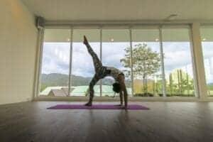 55 kvadratmeters areal med forskellige typer yogaklasser, hvoraf nogle er holdbaserede og andre individuelle. Andre områder som græsplænen kan også bookes til yoga.